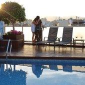 Swimming pool, sunset Ciutat Barcelona Hotel
